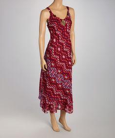 Look at this #zulilyfind! Fuchsia & Purple Tribal Necklace Midi Dress #zulilyfinds