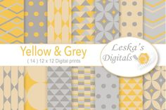 Grey & Yellow Digital Paper Pack  @creativework247