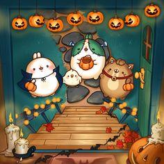 ▲illust by.나비랑 / retouch edit by.하얀오리 할로윈 몰랑이 마지막 일러스트!TRICK OR TREA... Cute Bear Drawings, Kawaii Drawings, Kawaii Art, Kawaii Anime, Molang, Fantasy Art Landscapes, Halloween Drawings, Cute Chibi, Copics
