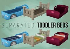 """simspirashun: """"Toddler Bed Frames + Mattress Haven't seen anyone do this yet! The frames retain all the original prices + names of the beds, while the mattress is priced at $25. The frames come in the same color options as the full bed counterparts...."""
