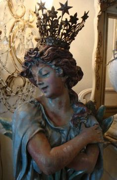 Chalkware art nouveau goddess at ParisPanachAntiques on etsy