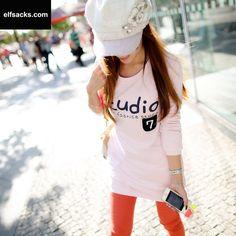 Womens Letter Pattern Round Collar Long Sleeve White Tshirt