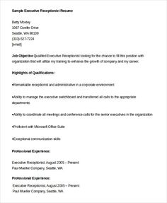 Resume Templates For Kids Simple 18 Free Receptionist Resume Templates  Printable Word & Pdf .