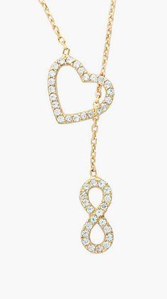 Gold & Cubic Zirconia Infinity Locked Heart Lariat Necklace