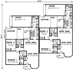 Plan 83124dc 2 unit townhouse design with back patio for Multi family house plans with courtyard