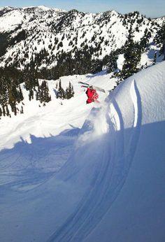 Ski into the pow