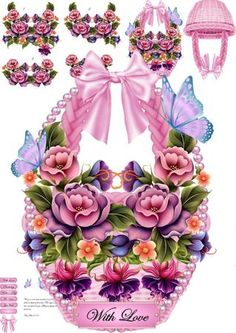 Pink Hanging floral Basket mini kit on Craftsuprint designed by Tina Fitch - All in pink a Beautiful hanging basket shaped card...Look out for the other's coming - Now available for download!