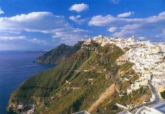 Santorini/Fira, where the lovers go :) Snow-white & royal blue seas, skies, & buildings set atop breathtaking cliffs! THIS will be where we relax & do nadaaaa.