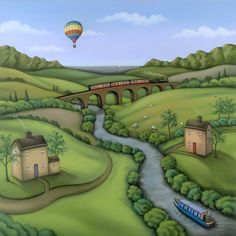 My Beautiful Balloon by Paul Horton is a signed limited edition. Other prints and originals by Paul Horton are available at Rennies Gallery. Paul Horton, Illustrations, Illustration Art, Country Art, Naive Art, Whimsical Art, Art Plastique, Abstract Landscape, Gouache