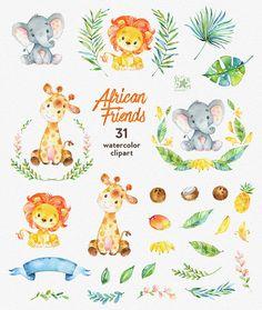 Amigos africanos. Acuarela animales gráfico León por StarJamforKids