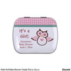 Pink Owl Baby Shower Candy Tin
