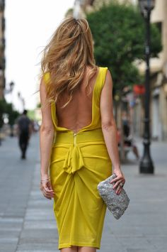 open back tight mustard color dress Only Fashion, High Fashion, Mustard Colored Dress, Fall Outfits, Fashion Outfits, Fasion, Wedding Guest Style, International Fashion, Formal