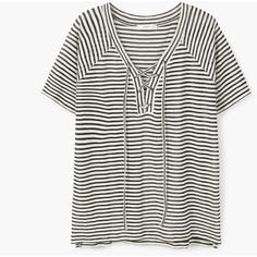 MANGO Striped Cotton T-Shirt ($36) ❤ liked on Polyvore featuring tops, t-shirts, white cotton t shirts, short sleeve tee, v-neck tee, white cotton tee and cotton tee