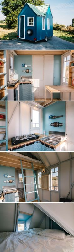 The Cahute Cabin: a beautiful blue tiny house from France!