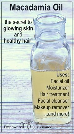Macadamia oil is all you need to cleanse/moisturize skin and and repair dry hair! #hair #DIY