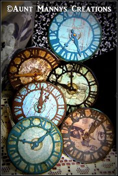 Sturdy Vintage Style Finished Blues & Browns Clock Faces for Mixed Media Canvas, Scrapbooking, Cardmaking and More by auntmannyscreations