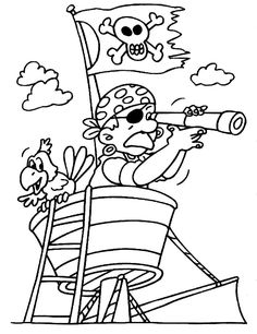 Kleurplaat: piraat in het kraaiennest