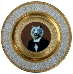 Timeless Tiger  Altered Vintage Plate 11 by BeatUpCreations, $199.00