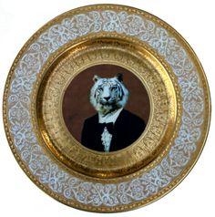 """Timeless Tiger - Altered Vintage Plate 11"""""""