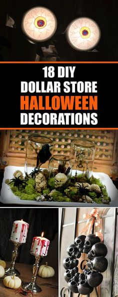 18 DIY Dollar Store Halloween Decorations Learn how to make some inexpensive Halloween decorations using supplies from the dollar store. Halloween Snacks, Diy Halloween Party, Hallowen Costume, Dollar Store Halloween, Homemade Halloween, Halloween Projects, Diy Halloween Decorations, Halloween 2018, Spooky Halloween