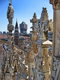 Torre Velasca from the roof of the Duomo, Milan, Italy