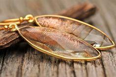 Rutilated Copper Quartz Earrings Long Marquis Drop Earrings Amy Fine Design