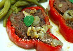 Peperoni+ripieni+di+carne+in+padella