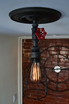 Ceiling Light   Industrial Steel Light w/ Red by WestNinthVintage