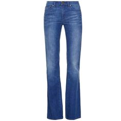 Tory Burch High-Waist Flare Jean ($225) ❤ liked on Polyvore featuring jeans, bottoms, pants, calças, denim, glory blue, high waisted stretch jeans, flared jeans, flare jeans и slim bootcut jeans