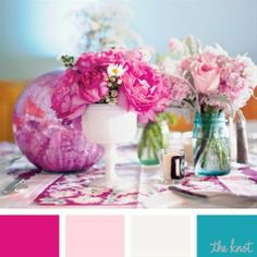 color palette pink everyday ideas | Fuschia, Light Pink, White and Teal Color Palette