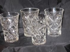 Vintage Anchor Hocking Early American Prescut Glasses (Usually sold in boxes of Oatmeal) Antique Dishes, Antique Glassware, Vintage Dishes, Anchor Hocking Glassware, Shot Glass, Glass Vase, Vintage Candy, Oldies But Goodies, Vintage Shabby Chic