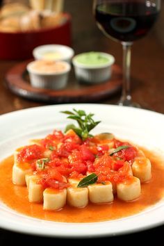 Nhoque de batata com molho pomodoro do restaurante Aguzzo