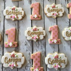 Vintage inspired first birthday cookies for sweet baby Georgia.