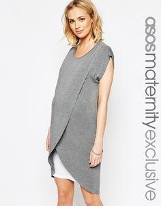 Image 1 ofASOS Maternity NURSING Dress With Wrap Overlay