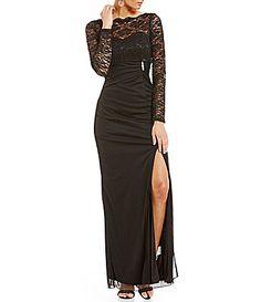 b366d2589203a Marina LongSleeve Lace Matte Jersey Gown  Dillards Cold Shoulder Dress
