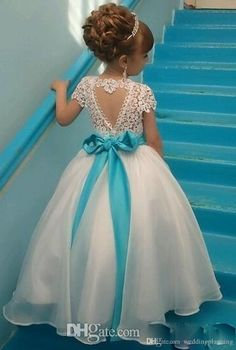 Elegant Scoop Neck A-Line/Princess Flower Girl Dresses Ankle-length Organza/Lace Sleeveless - lalamira Princess Flower Girl Dresses, Cheap Flower Girl Dresses, Wedding Flower Girl Dresses, Lace Flower Girls, Girls Party Dress, Little Girl Dresses, Girls Dresses, Party Dresses, White Dresses For Girls