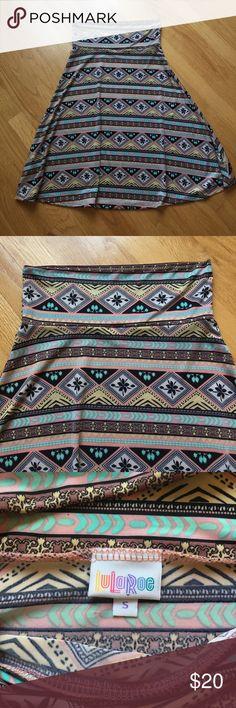 LulaRoe Azure Multi colored LulaRoe Azure. Slinky material. Worn twice. Great for work or casual! LuLaRoe Skirts Midi