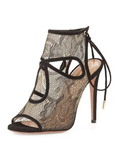 Aquazzura 'Sexy Thing' Tie-Back Keyhole Lace Sandal $725, available here: rstyle.me/~77huI