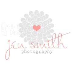 Premade Logo & Watermark, Gerbera Daisy Flower Heart, good for photography, small business, boutiques and other shops