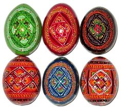 Set of 6 Wooden Easter Eggs - Hand Painted Ukrainian Pysanky - Easter Decor