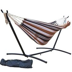 Double Hammock with Space Saving Steel Hammock Stand [3 Colors]