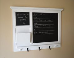 ~~NEW DESIGN - with this layout, you can have a more permanent schedule on the larger chalkboard while leaving notes and such on the mini chalkboard.  Upgrade main chalkboard to MAGNETIC chalkboard with this listing: https://www.etsy.com/listing/240366709/magnet-chalkboard-upgrade-for-28-x-225?ref=shop_home_active_1  overall measurements: 28 x 2.5 x 22.5 (l x w x h) chalkboard is 15 x 15.5  color shown: white; solid (other colors available under SELECT A COLOR button) > although I try to…