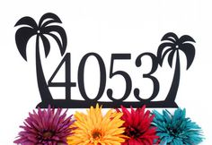 Tropical Palm Tree House Number Metal Sign - 4 Digit, Black, 18x9.5, Outdoor Sign, Address Plaque, Outdoor Sign, Custom Sign, House Sign