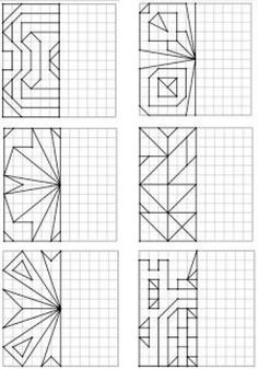 Here is a new geometry file on symmetry: 48 drawings on four-color - Mathe Ideen 2020 Symmetry Activities, Visual Perceptual Activities, Graph Paper Drawings, Graph Paper Art, Math Games, Math Activities, Geometric Drawing, Art Worksheets, Math Art