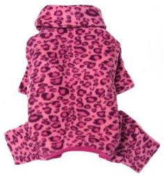 Soft Fleece Pink Leopard Print Turtleneck Bodysuitpajamas For Small Dogs - M by FAB Pupwear   SALE♥   $21.99   Available at BuyDogSweaters.com