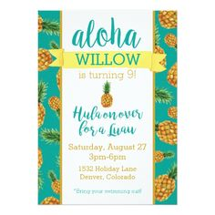 Luau Birthday Party Invitations Aloha Pineapple Luau Birthday Invitation