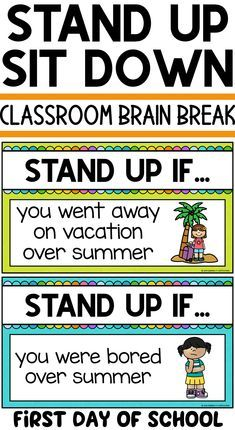 Back to School Brain Break - Grade Classroom Management - Education First Day Of School Activities, Activities For Boys, 1st Day Of School, Beginning Of The School Year, School Fun, Middle School, School Ideas, School Trends, First Day Of Class