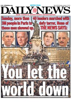 Today my loyal support for President Obama has eroded.  He let us down. New York Daily News Cover for January 12 2014