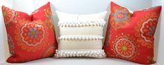 Decorative throw pillow, white tassel, pillow, Pom pom, home & living, home decor by OldLakeGeorge on Etsy https://www.etsy.com/listing/170211044/decorative-throw-pillow-white-tassel
