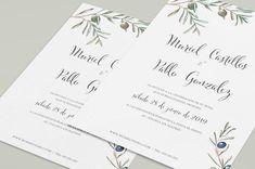 Una invitacion de boda ideal si el olivo es el protagonista en tu boda #innovias Place Cards, Place Card Holders, Illustrated Wedding Invitations, Bridal, Cards, Weddings, Boyfriends, Olive Tree